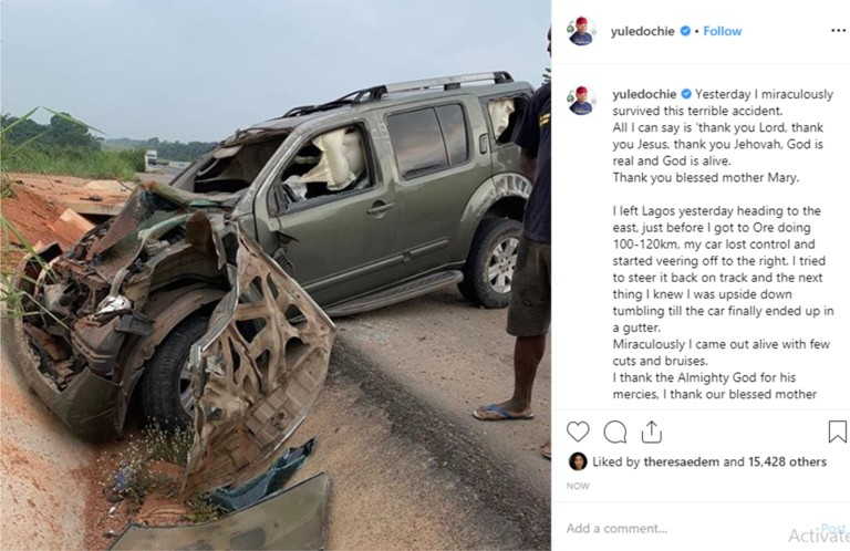 Actor Yul Edochie narrates how he miraculously survived a car