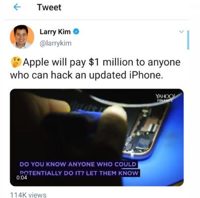 Apple offers to pay $1million to anyone who can hack an