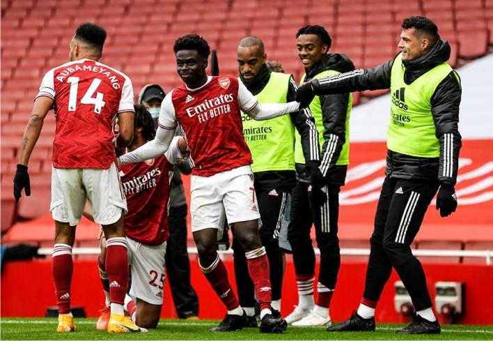 Saka scores for Arsenal