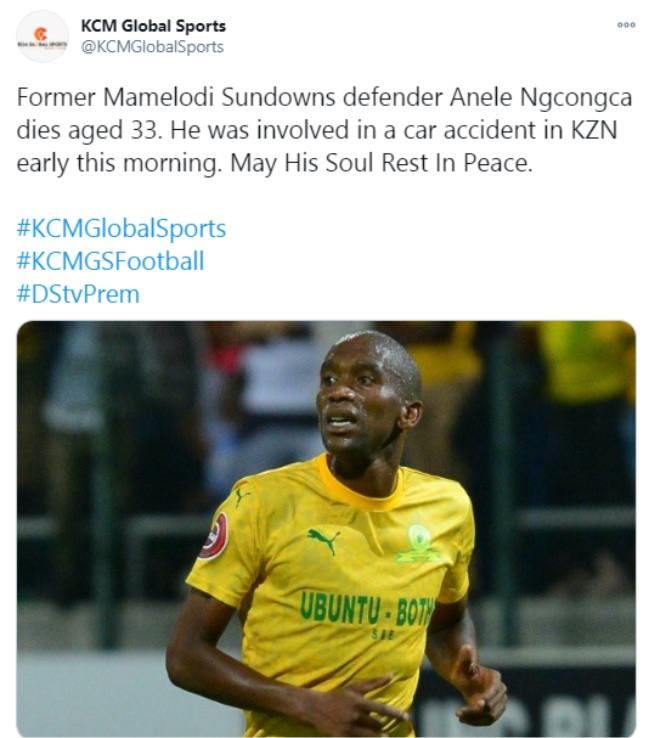 Breaking South African Footballer Anele Ngcongca Dies In Morning Car Crash