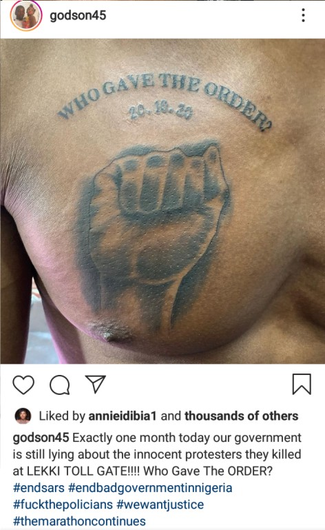 Photos: How an #EndSARS protester marked one month of Lekki shooting -  Expressive Info